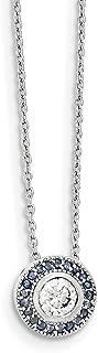 "Lex & Lu Sterling Silver Glass Blue Glass/CZ Round/Halo Necklace 18"""