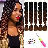 24' Ombre Cheveux Tressés Kanekalon Jumbo Braid Cheveux tressés synthétiques Extensions de cheveux en fibre à haute température deux tons pour cheveux Box Twist Braiding(5 Packs/Lot)