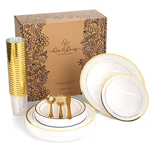 Disposable Plates, Forks, Knives, Spoons and Cups, 150 Piece Tableware Set, Gold Rimmed - Elegant, Reusable Plastic Plates for Parties, Wedding, for 25 Guests - Premium Plastic Dinnerware