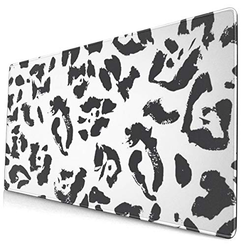 Large Mouse Pad Black and White Grunge Leopard Skin Animal Print XL Extended Gaming Mouse Pad Portable Waterproof Writing Pad for Mouse Office, Home, Non-Slip Rubber Base