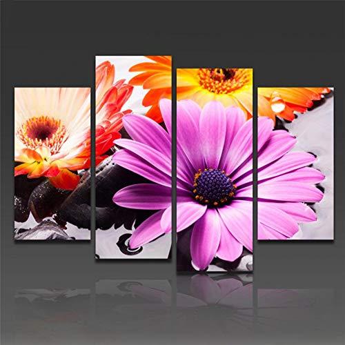 AJKCBAQ Moderne muurkunst foto's Home HD gedrukt decoratie 4 panelen paars en oranje bloem poster lijst woonkamer schilderij