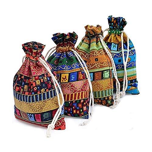Paquete de 24 bolsas de yute de arte étnico con cordón de joyería bolsa de joyería reutilizables bolsas para celebraciones de fiesta de bodas navidad bricolaje artesanías ( Color : Multi-colored )