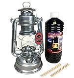 Feuerhand Petroleum Laterne 276 im Set, verzinkt + 1 Liter Lampenöl + 2 Ersatz Dochte