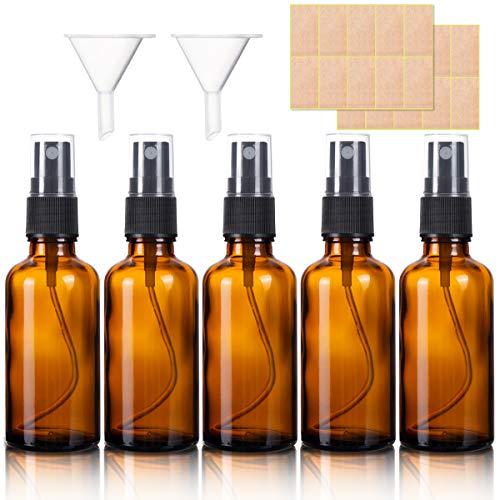 5pcs Flacon Vaporisateur Verre Ambré, 50ML Bouteille Spray Verre Vide Avec Pulverisateur de Brouillard Fine pour Parfums, Vaporisateurs Cosmétiques