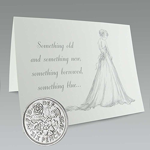 Authentic Sixpence Coin and Card for The Bride's Shoe   Something Old, Something New, Something Borrowed, Something Blue, and a Sixpence for Her Shoe