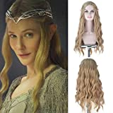 Pelucas sintéticas Royalvirgin Full Machine The Movie Hobbit Elf Queen Galadriel Cosplay Pelucas largas onduladas 613 pelo rubio ceniza dorado para uso de Halloween
