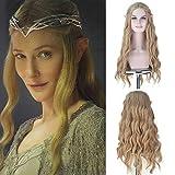 Royalvirgin Pelucas sintéticas de la película Hobbit Elf Queen Galadriel Cosplay Pelucas largo ondulado 613 dorado ceniza rubio para uso de Halloween
