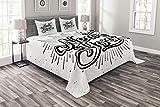ABAKUHAUS Jahrgang Tagesdecke Set, New Yorker Typografie, Set mit Kissenbezügen Sommerdecke, für Doppelbetten 220 x 220 cm, Weiß Schwarz