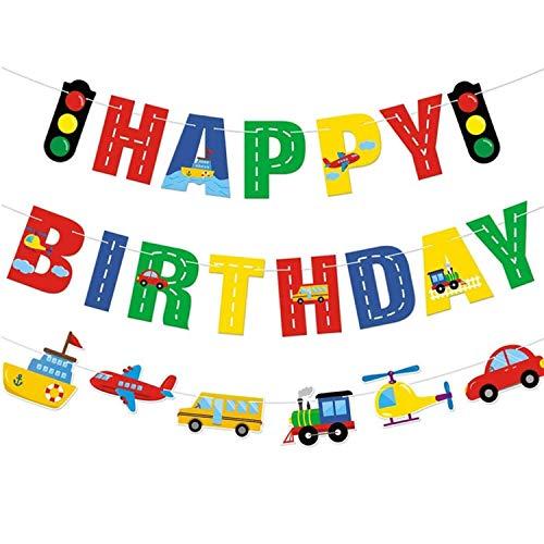 Banner de Cumpleaños de Transporte Cumpleaños Decoraciones Transporte Tema Coche Autobús Tren Avión Barco Helicóptero Semáforo Guirnalda para Fiesta de Cumpleaños