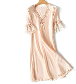 V-Neck Nightdress Korean Version Of Ice Silk Short-Sleeved Lace Skirt Home Pajamas Sexy Pajamas