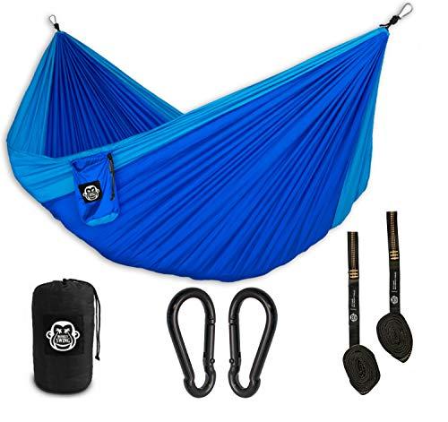 Monkey Swing Reise-Hängematte Ultra Light (275x140cm, max. 220 kg) im Set I Outdoor, Travel, Trekking & Camping Hammock, Reise-Hängematte, Travel-Hammock, Garten, Strand (Blau/Blau)