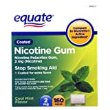 Equate - Nicotine Gum 2 mg, Coated, Cool Mint Flavor, 160 Pieces