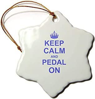 HoloABC Keep Calm and Pedal on - Blue - Motivational Motivating Carry on Biking Cycling Bicycle Biker Cycler - Snowflake Ornament Porcelain