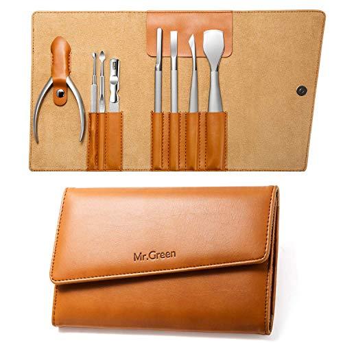 Cortaúñas Gift Set, acero inoxidable Professional Cortaúñas Manicura Pedicure & Grooming Kits con estuche de cuero (Mr-9105)