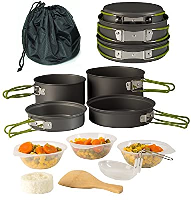 Wealers Camping Cookware 11 Piece Outdoor Mess Kit Backpacking| Trailblazing add on | Compact| Lightweight| Durable with Chef Pots, Bowls, Utensils and Mesh Carry Bag Included (11 Piece Set)
