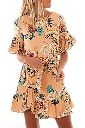 Necooer Women's Ruffle Half Sleeve Loose Boho Dress Floral Print Casual Midi Dresses with Pocket