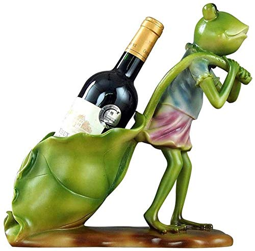 Escultura Estante para botellas de vino estante para vinos forma de rana creativa estante para vinos personalidad hogar cocina restaurante resina estante para vinos encimera gabinete bodega estante pa