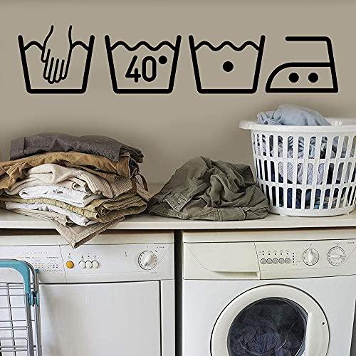 Gran oferta, lavadora, decoración del hogar, decoración de la sala de lavandería, arte extraíble, pegatina de pared, vinilo, Mural, calcomanía A5 60x13cm