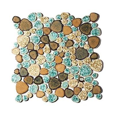 Pebble Porcelain Tile Fambe Turquoise Green Beige Shower Floor Pool Alley Tiles Mosaic TSTGPT005 (10 Square Feet)