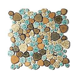 commercial Pebble Porcelain Tile Fan Better Turquoise Green Beige Shower Floor Pool Alley Tile Mosaic TSTGPT005… pebble shower floor