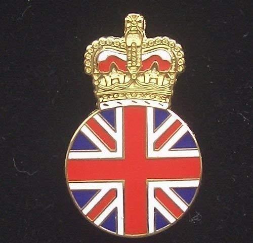 UNION JACK & COURONNE ROYALE Badge épinglette en émail