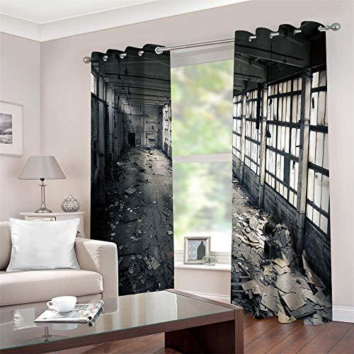 Gzclian Gordijn, ondoorzichtig, warmte-isolerend, 3D-werkplaats, gordijnen, polyester, bedrukt, 2 stuks