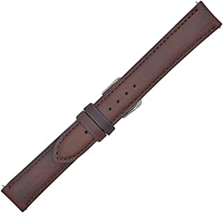 17mm Brown Horween Chromexcel Genuine Leather - Padded Stitched Watch Strap Band - Gold & Silver Buckles Included ? Factory Direct - Made in USA by Real Leather Creations FBA126