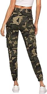 SOLY HUX Women's Sports Sweatpants Camouflage Belt Trousers Side Pockets Zip Running Trousers Colourful Trousers Sports Trousers Capris Jogger Pants