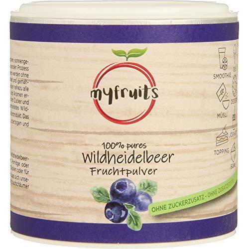 myfruits® Wildheidelbeerpulver - ohne Zusätze, zu 100% aus Heidelbeeren, Fruchtpulver für Smoothie, Shakes & Joghurt (70g)