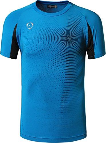 jeansian Hombre Camisetas Deportivas Wicking Quick Dry tee T-Shirt Sport Tops LSL133 (US XL(180-185cm 75-80kg), LSL013_Oceanblue)
