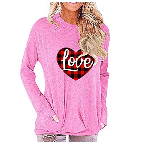 Blusa con Estampado De Amor a Cuadros Blusa Suelta De Manga Larga con Cuello Redondo Suéter Casual Camisa Básica Día De San Valentín para Mamá/Novia