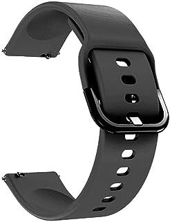 سوار ساعة ذكية ناعم من السيليكون الفاخر لساعة سامسونج جالاكسي واتش اكتيف الذكية (20 ملم) - لون اسود