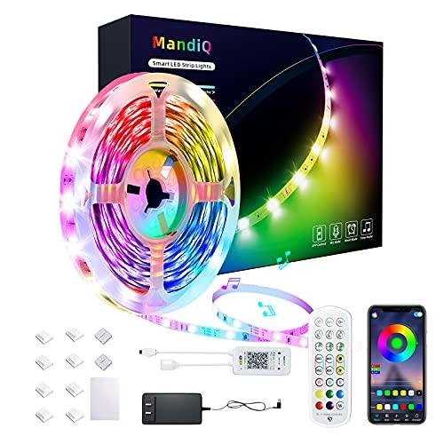 Led Strip Lights 50ft, Mandiq Smart Light Strips with App Control Remote, Music Sync 5050 RGB Color Changing Led Lights for Bedroom, Kitchen, Home Decoration
