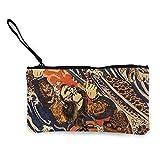 Monedero de lona para mujer y niña, monedero pequeño, bolsa de maquillaje, Samurai guerrero japonés lucha salamandra gigante