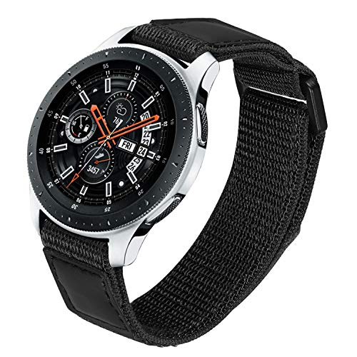 TRUMiRR Nylon Band for Samsung Galaxy Watch 46mm Men, 22mm Loop Woven Nylon & Genuine Leather Watchband Quick Release Strap Wristband for Gear S3 Frontier/Classic
