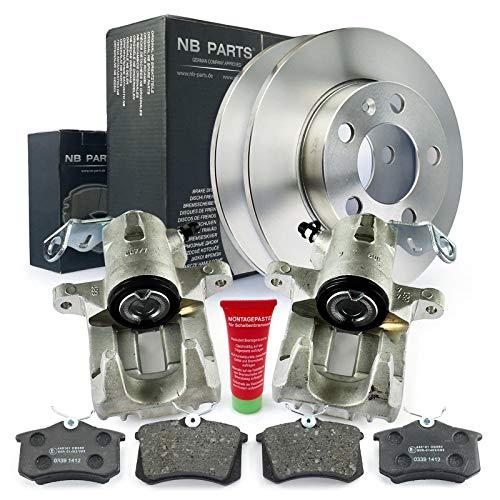 Bremsen/2x Bremssattel + Bremsscheiben + Bremsbeläge hinten NB PARTS GERMANY 10069776