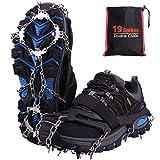 Rakaraka Crampones Nieve Hielo, 19 Dientes Tacos de tracción Nieve y Hielo Tracción para Invierno Deportes Montañismo Escalada Caminar Alpinismo Cámping Acampada Senderismo (Negro, L)