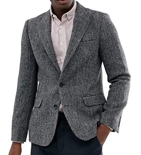 Aesido Casual Men's Suit Jacket Harris Tweed Wool Herringbone Slim Fit Prom Tuxedos Blazer Wedding Groomsmen(Grey,50US)