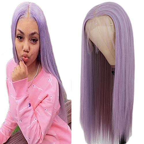 Maycaur 13x4 Lace Front Wigs Long Straight Hair Purple Color Wigs for Fahison Women Light Purple Synthetic Lace Front Wigs with Natural Baby Hair 22 Inch