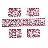 WFIT Conjunto Mantel Corredores De La Tabla De Encaje Rojo Manteles Dresser Bufanda del Corazón De San Valentín Decoración De Navidad Románticos 5pcs Día De La Madre