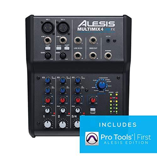 Alesis MultiMix 4 USB FX - Mezclador de estudio compacto de 4 canales...
