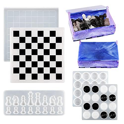 DoreenBow 4 moldes de silicona de resina para tablero de ajedrez, juego de moldes de silicona de ajedrez 3D, moldes de resina de fundición epoxi, piezas de ajedrez moldes de resina para juegos