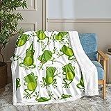 Cute Frog Blanket Green Frog Throw Blanket Aerobics Frog Printed Cartoon Kids Sherpa Fleece Blanket Soft Warm Green Animal Blanket for Bedroom Travelling Camping (Throw (50'x60'), Frog)