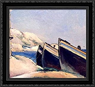 Boats 22x20 Black Ornate Wood Framed Canvas Art by Ion Theodorescu Sion