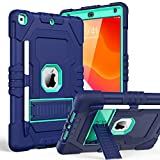 TOPSKY iPad 10.2 2019 Case iPad 7th Generation Case with Pencil Holder Kickstand Three Layer Heavy Duty Shockproof Anti-Scratch Anti-Fingerprint Protective Cover Navy Blue Mint