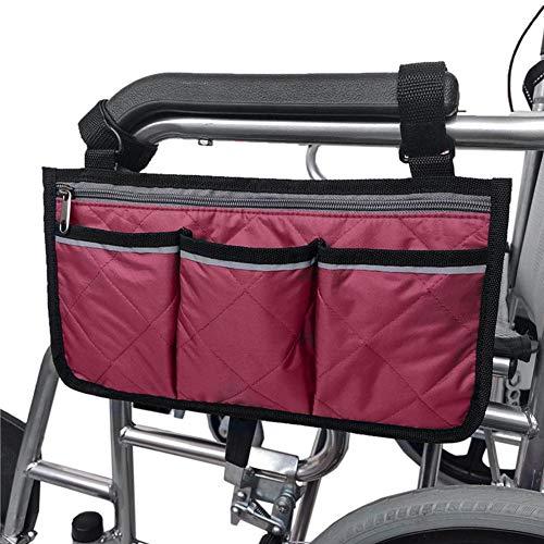 LINKLANK Rollstuhl-Aufbewahrungstasche Rollstuhl-Rucksack, Rollstuhl-Aufbewahrungstasche, Rollstuhl-Aufbewahrungstasche, Seitentasche, Armlehne, Organizer, Bürostuhl, Aufbewahrungstasche claret