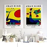 Joan Miro Abstract Street Art Mural De Pared ImpresióN De PóSter Cuadro De Pintura Famosa Para La ReunióN De Oficina Sala De Estar Para NiñOs DecoracióN Del Hogar 50x80cmx2 (20x32'X2) Sin Marco