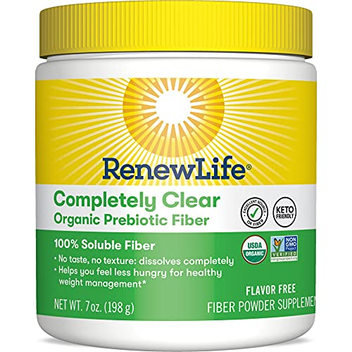 Renew Life Adult Completely Clear Organic Prebiotic Fiber, Keto Friendly Fiber Powder Supplement, 7 oz. (Package May Vary)