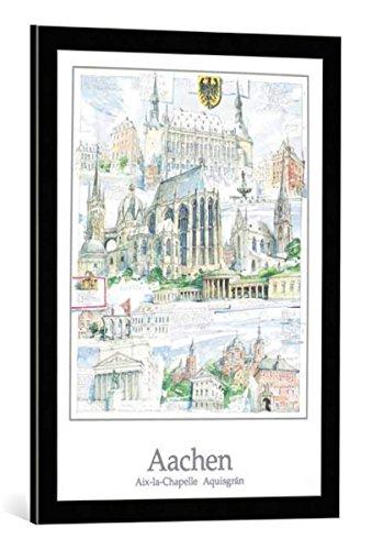 kunst für alle Bild mit Bilder-Rahmen: Robert C. Rore Aachen - dekorativer Kunstdruck, hochwertig gerahmt, 50x70 cm, Schwarz/Kante grau