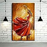 FENGJIAREN Pintura Al Óleo Pintada A Mano Bailarina De Flamenco Pintura Al Óleo Bailarina De España Bailando con Un Vestido Rojo Pinturas Al Óleo, 80 × 120 Cm